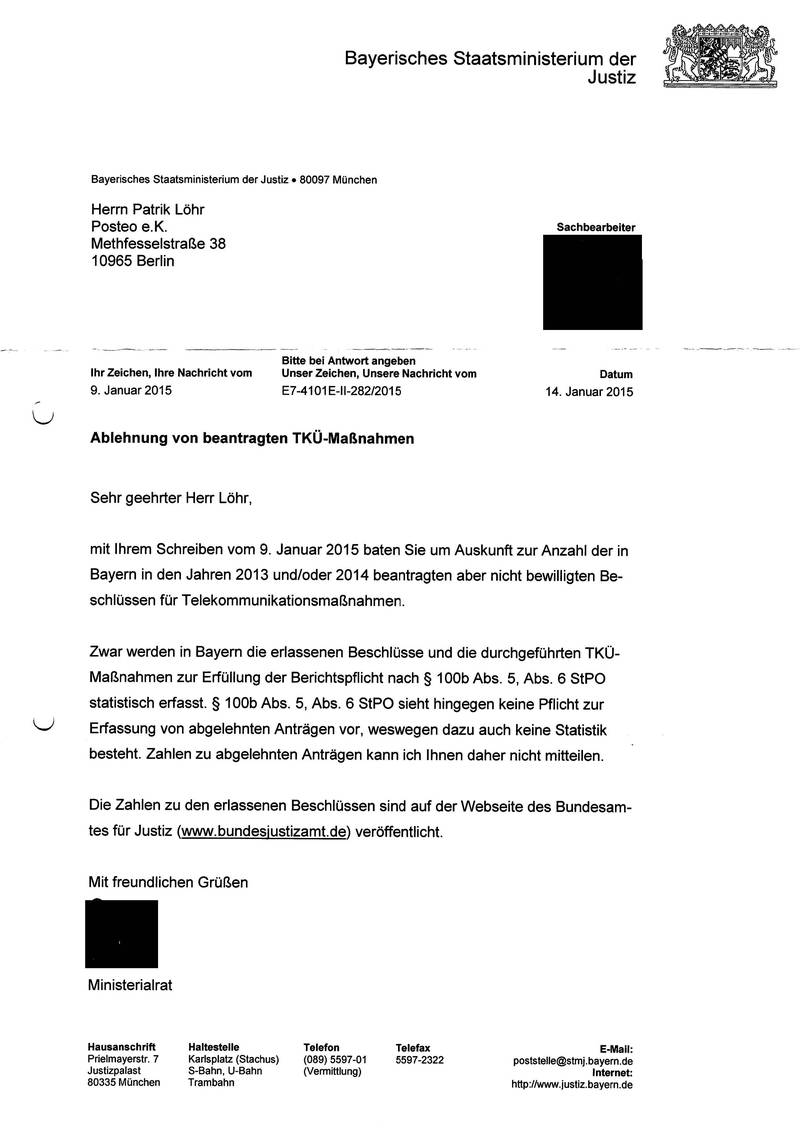 Response from the Bavaria Ministry of Justice