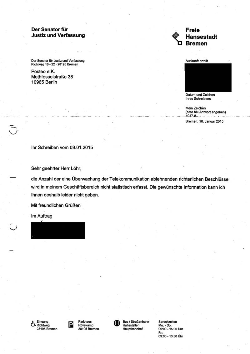 Response from the Bremen Ministry of Justice