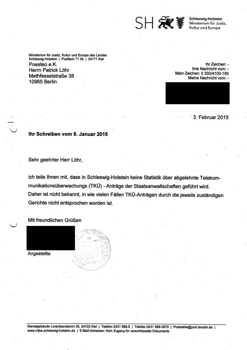 Response from the Schleswig-Holstein Ministry of Justice