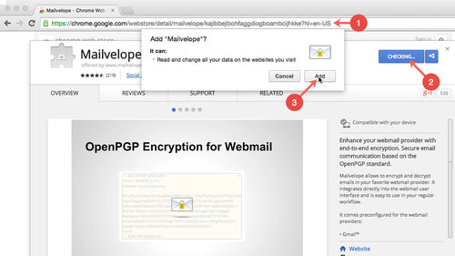 How to Einstall Mailvelope in Google Chrome