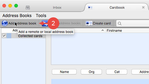 "In Cardbook, click ""Add address book"""