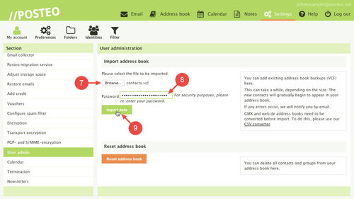 Reset Posteo address book: Steps 7 to 9