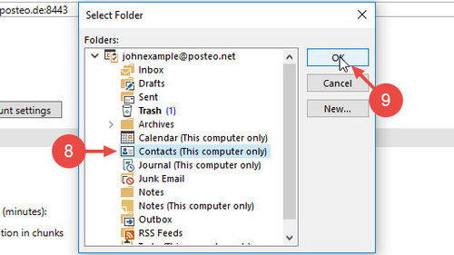 "Select your Outlook contacts directory and confirm by clicking ""Ok"""