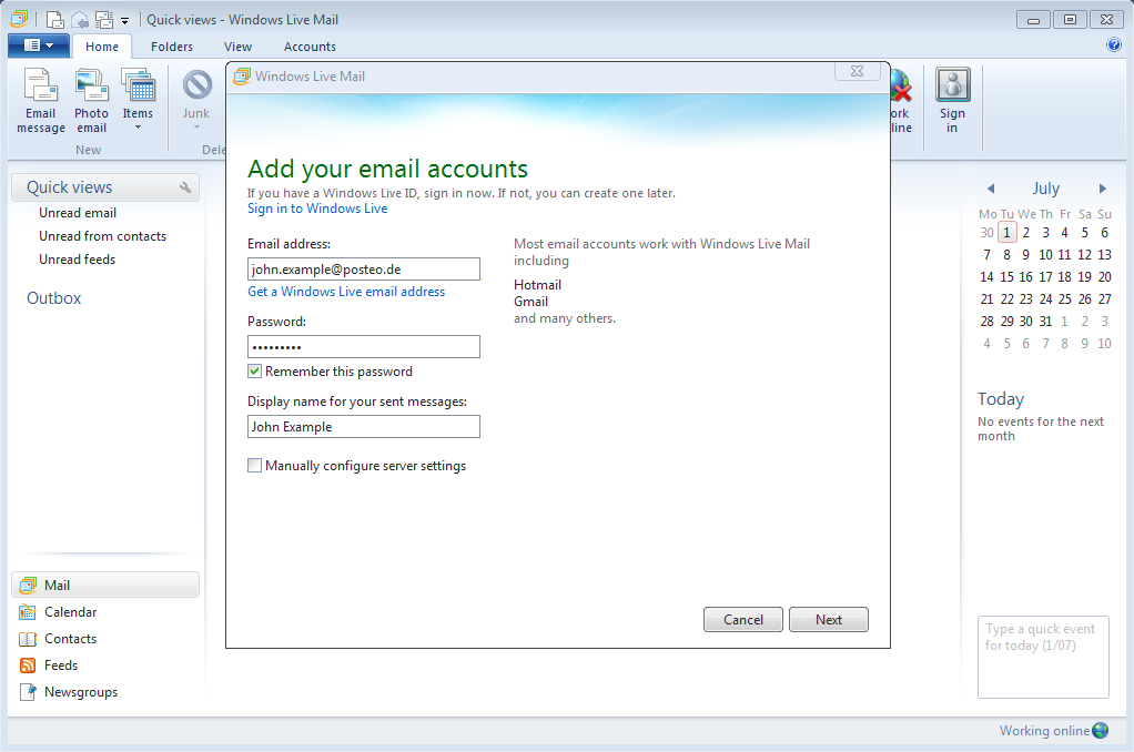 Help - How do I set up Posteo in Windows Live Mail? - posteo de