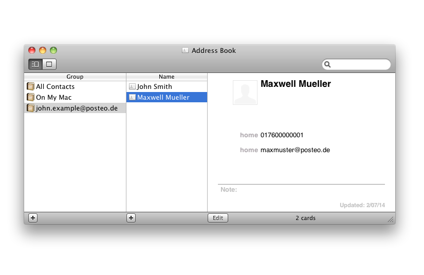 Your contacts will be synchronised and shown as an extra address book. (You may need to restart the Address Book before you can see them.)