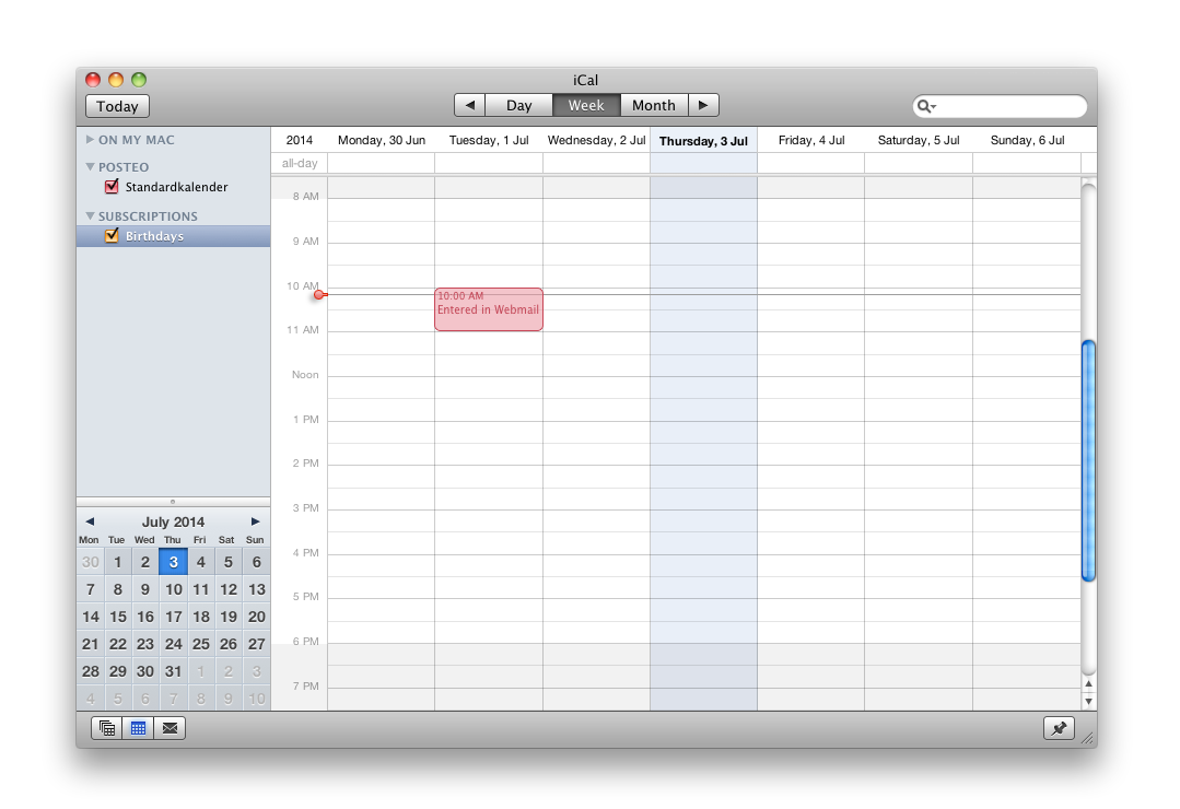 The calendar entries from your Posteo calendar will now be synchronised (you may need to restart iCal).