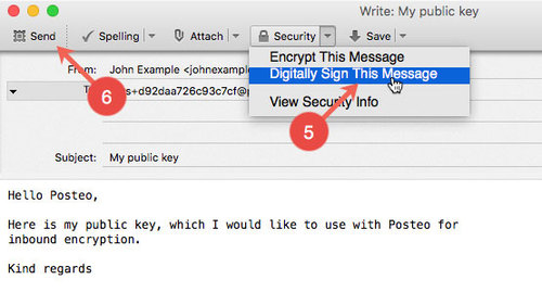 Activate inbound encryption with public S/MIME key - Step 5 to 6