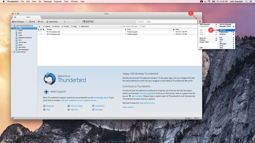 Thunderbird: How to install an Add-on - step 1