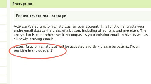Posteo crypto mailstorage: Activating Phase 1