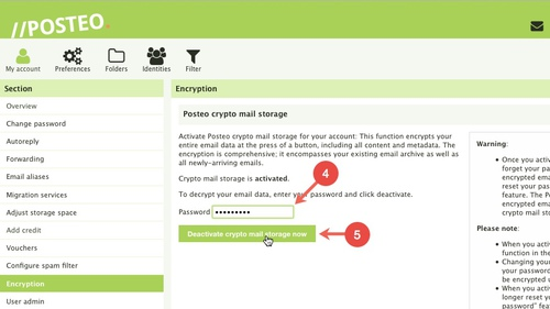Posteo crypto mailstorage: Deactivating Step 4-5