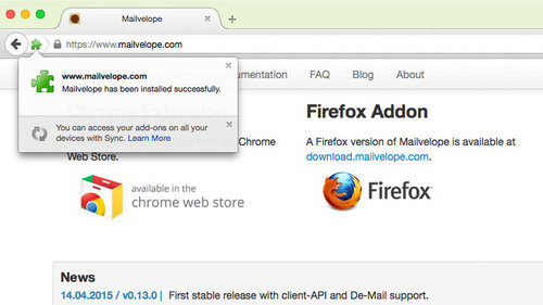 Install Firefox add-on: done