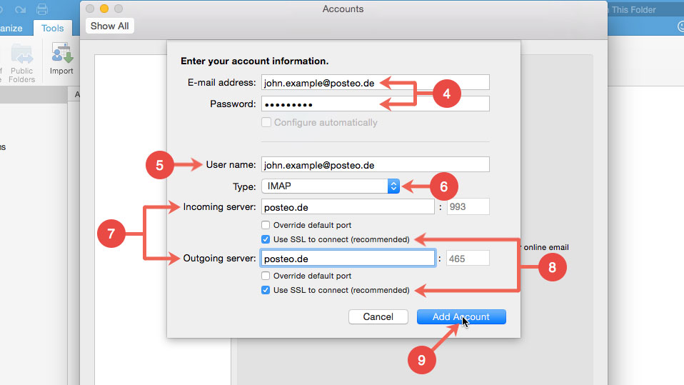 microsoft outlook for mac 2011 change password