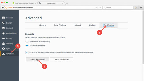 Export S/MIME certificates in Firefox: step 3 to 5